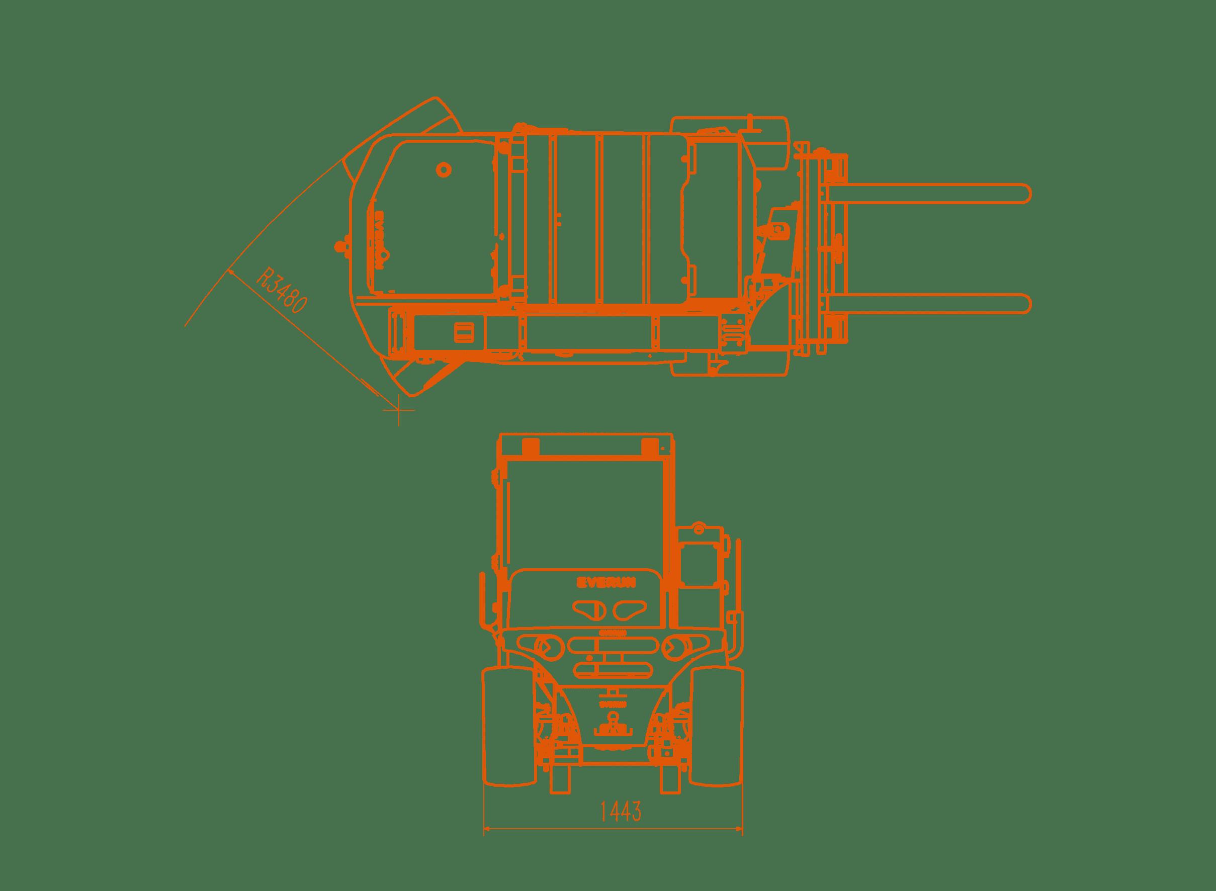 Передние схемы габаритов телескопического погрузчика Everun ERT1500